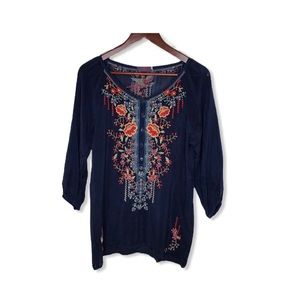 Johnny Was Embroidered Tunic Top.